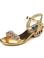Women's Sandals Summer Sandals PU Casual Low Heel Buckle Black / Silver / Gold Others