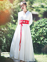 Ramie Cotton Women's Going out Chinoiserie Loose DressSolid V Neck Maxi Long Sleeve White Linen Fall