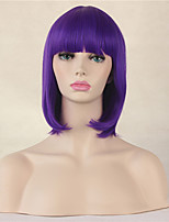Fashion Short Straight  Wig Purple Color Synthetic Cosplay African American Wig