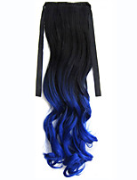 Ombre Synthetic Long Lady Wowen Curly Wavy Clip in Ponytail Pony Tail Fake Hair Extension body wave BlackTBlue