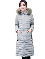 Fall Winter Going out Casual Women's Jacket Solid Color Simple Joker Warm Long Section Padded Coat