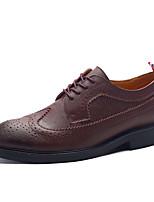 Herren-Flache Schuhe-Büro Lässig-Leder-Flacher Absatz-Modische Stiefel-Schwarz Braun