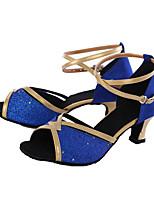 Chaussures de danse(Bleu / Argent / Or / Autre) -Personnalisables-Talon Personnalisé-Paillette-Latine / Baskets de Danse