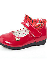 Girl's Sneakers Spring / Fall Round Toe PU Casual Flat Heel Magic Tape Red / Coral Others