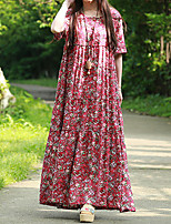 Cynthia Casual/Daily Vintage Swing DressFloral Round Neck Maxi Short Sleeve Red Cotton Summer Mid Rise Inelastic Medium