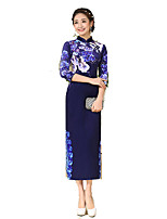 Classic & Traditional Lolita Skirt 3/4-Length Sleeve Long Length Blue Lolita Dress Silk