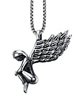 Men's Fashion Individual Novel Angel Stainless Steel Coppery Pendant Necklaces(1Pc)