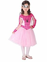 Cosplay Costumes Super Heroes / Spider Movie Cosplay Pink Solid Dress / Mask Halloween / Christmas / New Year Kid Polyester