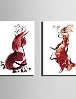 E-HOME® Stretched Canvas Art Abstract Dancing Woman Decoration Painting  Set Of 2