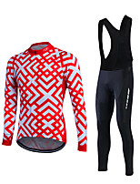 Sports Cycling Jersey with Bib Tights Men's Long Sleeve BikeBreathable / Lightweight Materials / 3D Pad / Back Pocket / Sweat-wicking /