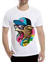 Tee-Shirt Pour des hommes A Motifs Décontracté Manches Courtes Polyester Blanc