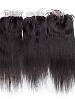 Hot Sell Natural Hair Color Medium Brown Swiss Lace4x4 Straight Human Hair Closure In Stock