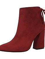 Damen-Stiefel-Lässig-Kunstleder-BlockabsatzSchwarz Gelb Rot Grau Burgund Khaki