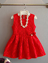 Girl's Casual/Daily Solid DressRayon Summer / Spring / Fall Black / Red