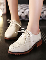 Women's Oxfords Fall Comfort Leather Casual Flat Heel Lace-up Black / Beige Others