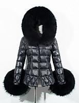Пальто Уличный стиль Обычная На подкладке Женский,Однотонный На каждый день / Большие размеры Искусственный мех / Хлопок Полипропилен,