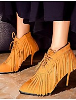 Women's Boots Spring Fall Winter Suede Outdoor Stiletto Heel Lace-up Tassel Black Brown Other