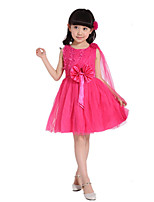Girl's Going out Solid Dress,Cotton / Others Summer Pink / Purple / Red