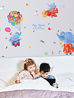 Wall Stickers Wall Decals Colorfull Elephants Feature Removable Washable PVC