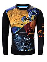 Men's Print Casual / Sport SweatshirtCotton Long Sleeve Black