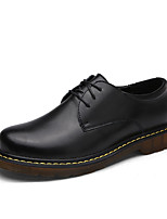 Men's Oxfords Spring Fall Comfort Cowhide Outdoor Casual Flat Heel Lace-up Black Brown Red Walking