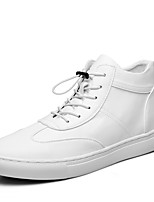 Men's Sneakers Spring / Summer / Fall / Winter Comfort Leather Casual Flat Heel Lace-up Black / White Walking