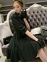 Women's Going out /Holiday Vintage / Street chic / Sophisticated A Line Dress,Solid Peter Pan Collar Knee-lengthLong