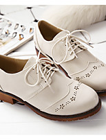 Women's Flats Spring / Fall Comfort PU Casual Flat Heel Lace-up Black / Beige Others