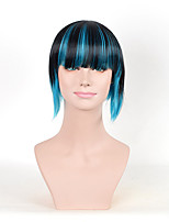 Fashion European and American Short Straight 1B/Bule Ombre Color Women Synthetic Wigs