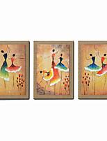Handgemalte Abstrakt / Menschen / Fantasie / Abstrakte Porträt Ölgemälde,Modern Drei Paneele Leinwand Hang-Ölgemälde For Haus Dekoration