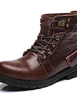 Men Cotton Warm Genuine Leather Boots Tooling Boots Snow Boots Ankle Boots
