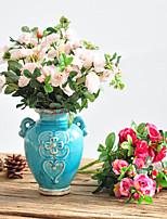 1 1 Филиал Полиэстер / Пластик Розы Букеты на стол Искусственные Цветы 11.8inch/30cm