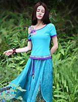 Tee-shirt Aux femmes,Couleur Pleine Sortie Vintage Eté Manches Courtes Epaules Dénudées Bleu Polyester / Spandex Moyen