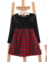 Girl's Casual/Daily Plaid DressCotton Spring / Fall Black / White