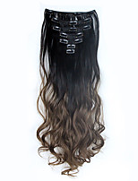 1Set Clip On Hair Extension 60cm 24inch 7pcs/set Natural Hairpieces Dip Dye Wavy Synthetic Clip In ombre Hair Extensions