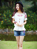 Our Story Going out Vintage Summer T-shirtEmbroidered Round Neck Short Sleeve White Polyester Medium