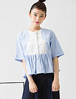 ROOM404  Women's Going out Simple Summer BlouseStriped Crew Neck Length Sleeve Blue Cotton Opaque