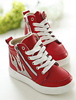 Unisex Sneakers Spring Fall PU Casual Flat Heel Zipper Black Red White