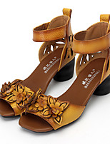 Women's Sandals Summer Comfort Leather Casual Chunky Heel Flower Black Yellow Red Others