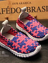 Unisex Sneakers Fall Comfort Leather Casual Flat Heel Lace-up Blue Yellow Pink Others