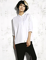 Newbefore Women's Casual/Daily Simple Spring ShirtSolid Shirt Collar Long Sleeve White / Black Cotton Opaque