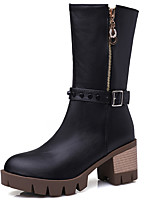 Women's Shoes Boots Spring/Fall/Winter Heels/Platform/Fashion Boots/Round Toe Office Career/Dress/Casual Chunky Heel