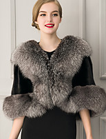 Women's Street chic Fur Coat Solid V Neck Sleeveless Winter Black Faux Fur Thick