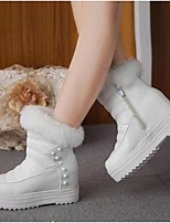 Women's Boots Winter Snow Boots PU Outdoor Platform Rivet Zipper Black White