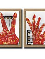 Ручная роспись Абстракция / фантазия Картины маслом,Modern / Реализм / Европейский стиль 2 панели Холст Hang-роспись маслом For Украшение