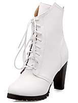 Women's Boots Spring / Fall / Winter Fashion Boots Leatherette/ Casual Chunky Heel Lace-up Black / White / Gray Others