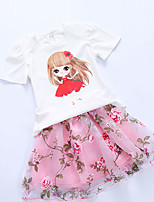 Girl's Casual/Daily Floral Clothing SetCotton Summer Pink / White