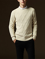 Men's Solid Casual PulloverPolyester Long Sleeve Blue / Red / Beige