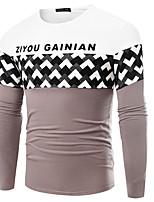 Herren T-shirt-Druck / Gestreift / Verziert / Einfarbig / Buchstabe Freizeit / Büro / Formal / Sport / Übergröße Baumwolle / Elasthan Lang