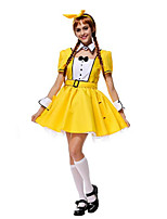Costumes de Cosplay / Costume de Soirée Tenus de Servante Fête / Célébration Déguisement Halloween Jaune Couleur Pleine JupeHalloween /